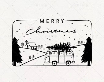 Christmas Tree SVG & PNG Clipart Frame Sublimation Graphic / Truck Art Yard Sign Decor Wrapping Paper With Trees Vacation Shirt Sticker File