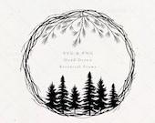 Christmas Wreath SVG PNG Clipart Files, Pine Tree Winter Monogram Border Frame, Evergreen Holiday Spirit, Merry Digital Download Vector