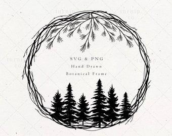 Christmas Wreath SVG & PNG Clipart Files, Pine Tree Winter Monogram Border Frame, Evergreen Holiday Spirit, Merry Digital Download Vector
