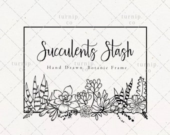 Succulents Frame SVG & PNG Clipart Sublimation Graphic Design / Botanical Border Cactus Floral Vector Wood Scroll Art Printable Sign Engrave