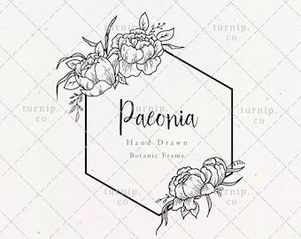 Peonies Hexagon Wreath SVG & PNG Clipart Sublimation Graphic Design / Botanical Border Frame Floral Vector Wood Art Printable Sign Engrave
