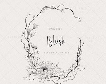 Rustic Wreath Clipart, Oval Peony Flower Frame PNG, Floral Monogram Logo Label Wedding Invitation Element Design, Vintage Botanical Border