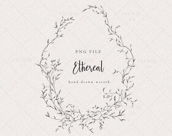 Wedding Wreath Clipart, Floral Laurel Frame png, Oval wreath Border, Monogram Label Logo Design,Leaf Garland, Wedding Invitation Logo File