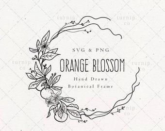 Orange Blossom SVG & PNG Clipart Sublimation Graphic Design / Spring Botanical Border Frame Floral Vector Wood Art Printable Sign Engraving