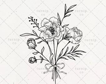 Peony Bouquet SVG & PNG Clipart Sublimation Graphic Design / Botanical Leaf Floral Frame Border Black Image Illustration Print Wall Wood Art