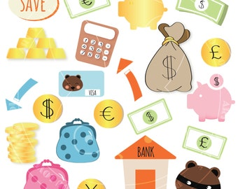 Money Clipart [gold, piggy bank,money bag, finance images]