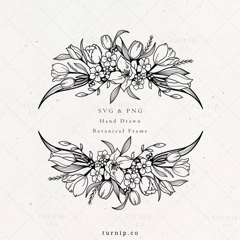Tulip SVG PNG Flower Oval Frame Vector Clipart Sublimation image 0