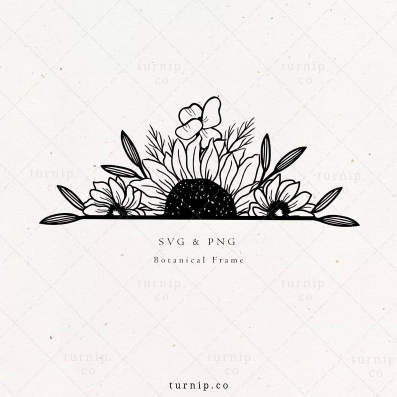 Half Sunflower SVG Split Flower Monogram File Sunflower image 0