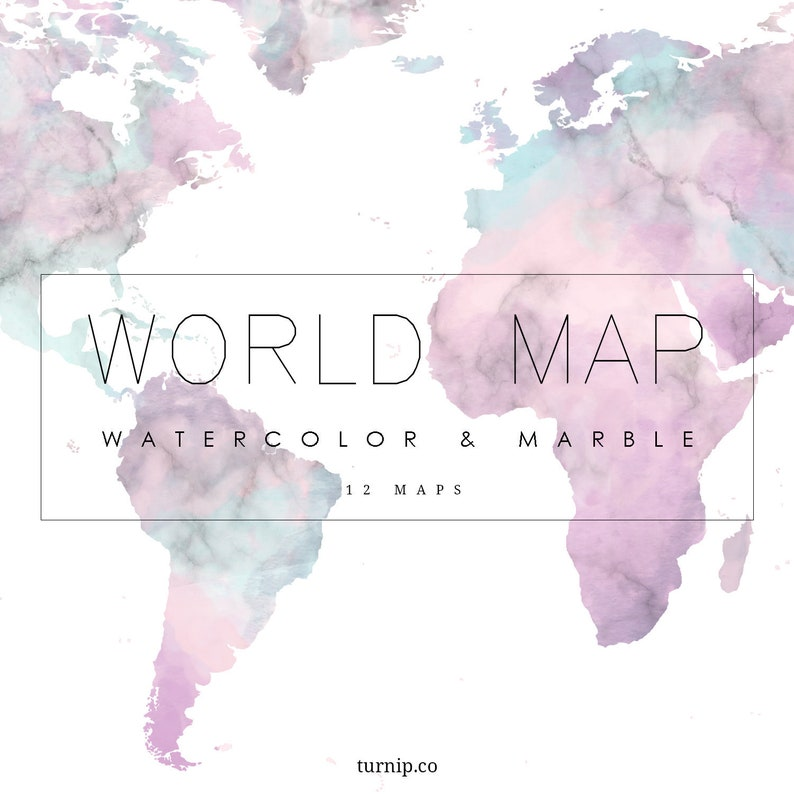 Watercolor World Map Clipart Download Cartoon PNG