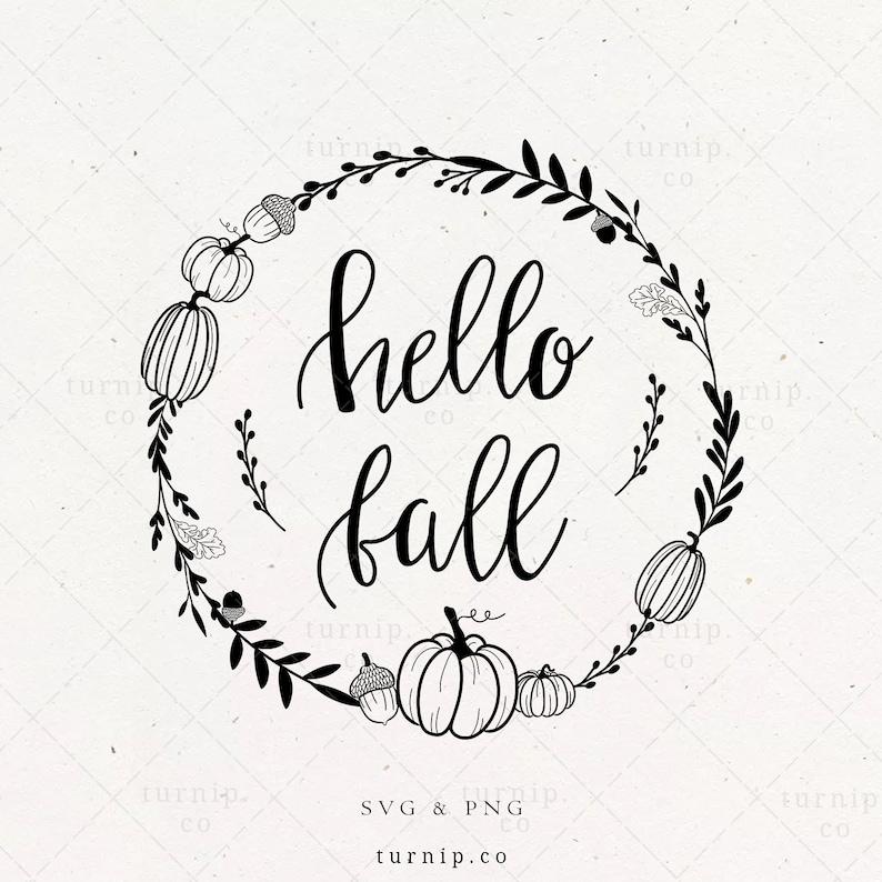 Hello Fall SVG Pumpkin Wreath Sublimation Clipart Fall image 0
