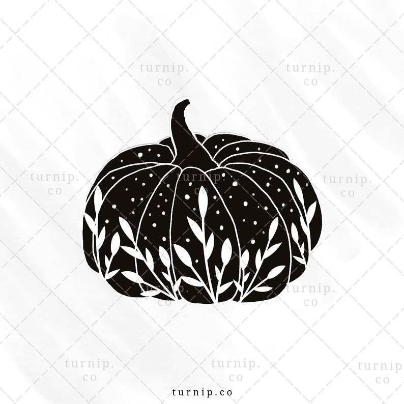 Black & White Pumpkin Sublimation Clipart Graphic Cartoon PNG