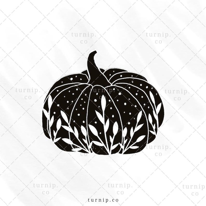 Black & white pumpkin sublimation clipart graphic