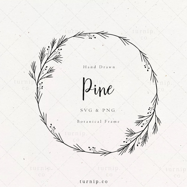 PINE wreath SVG Christmas Wreath Clipart Holly Laurel Frame image 0