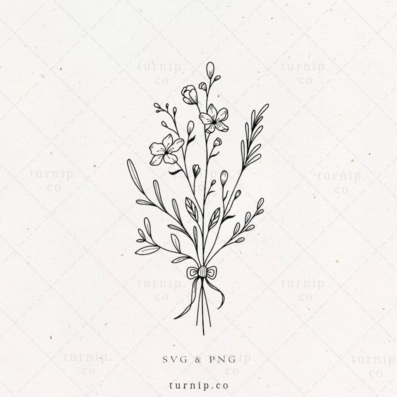 Floral Bouquet SVG Flower Bundle Arrangement Png Sublimation image 0