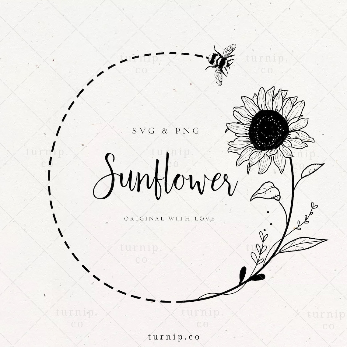 Sunflower and Bee SVG Wreath Clipart Sublimation Cartoon PNG