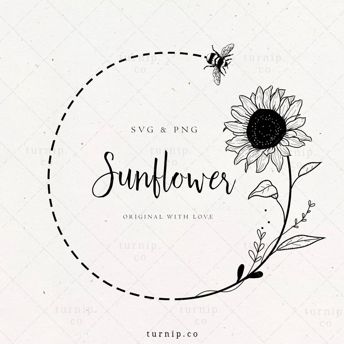 Sunflower and Bee SVG Wreath Clipart Sublimation