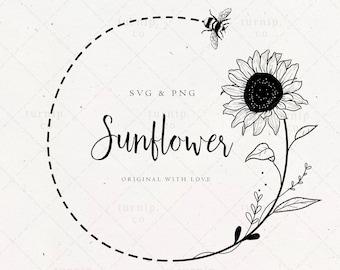 Sunflower and Bee Wreath SVG, Monogram Frame, Floral Border Clipart, Label Logo Design png, Wedding Flower Garland Instant Download Image