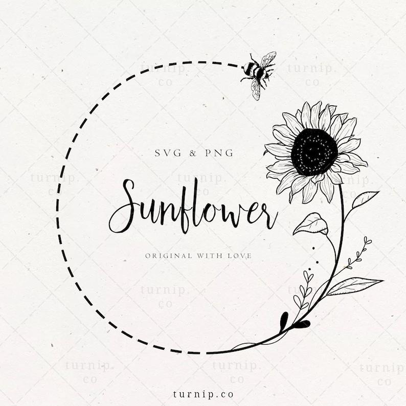 Sunflower and Bee Wreath SVG Monogram Frame Floral Border image 0