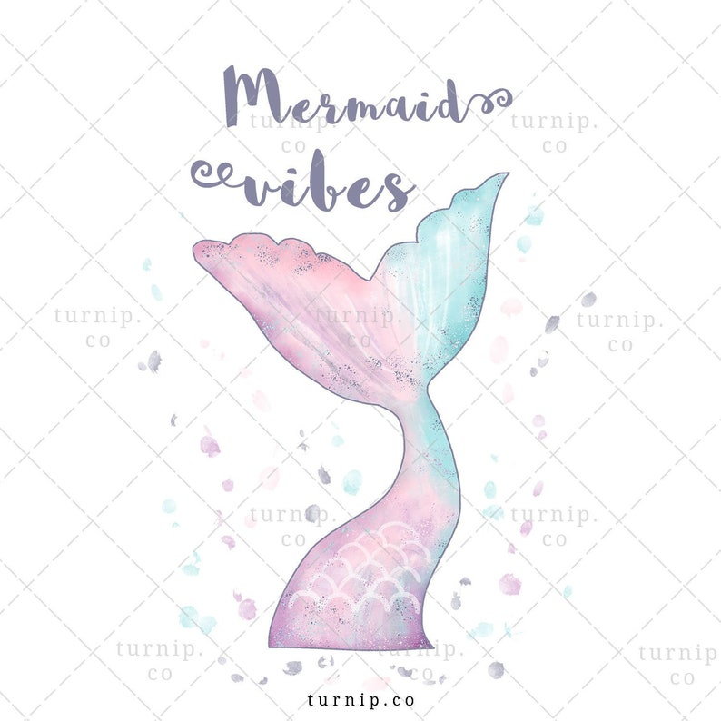 Mermaid Vibes Sublimation Clipart Graphic Cartoon PNG