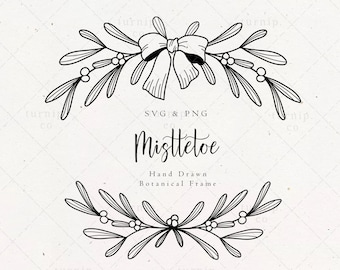 Mistletoe Garland SVG & PNG Wreath Clipart Sublimation Graphic / Christmas Winter Holiday Kiss Leaf Design / Xmas Drawing Card Digital File