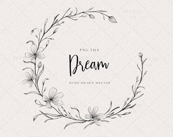 Simple Flower Wreath Clipart, Half wreath frame png, Floral Laurel Wreath Art, Wedding Logo Design, Label, Digital Stamp, Circle Border