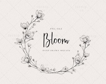 Wild flower Wreath Clipart, floral wreath PNG, Wedding Logo Design, Label Frame, Planner Sticker Black and white Laurel Circle