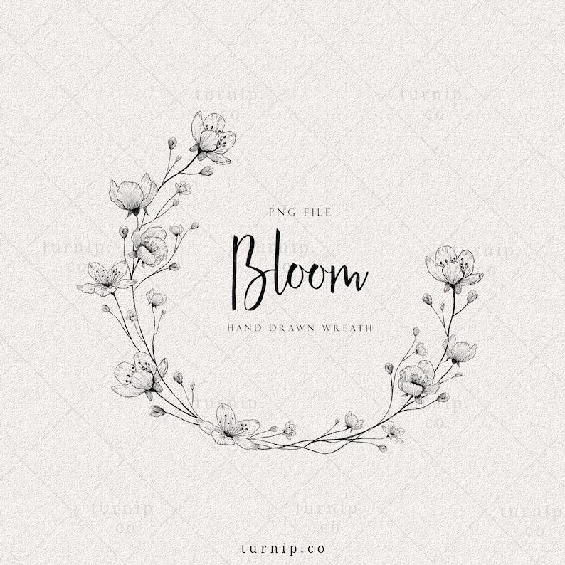 Wild flower Wreath Clipart floral wreath PNG Wedding Logo image 0