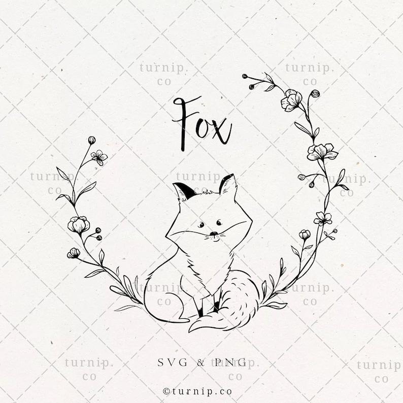 Cute Fox Wreath SVG & PNG Clipart Sublimation Graphic Design / image 0