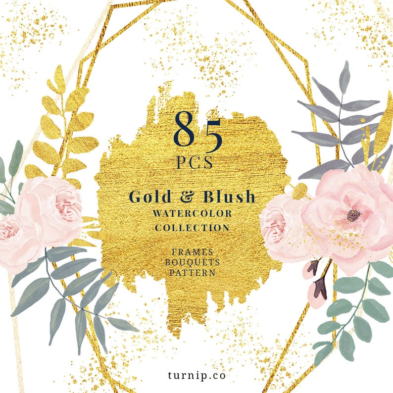 85 Blush And Gold Watercolor Floral Geometric Clipart Cartoon PNG