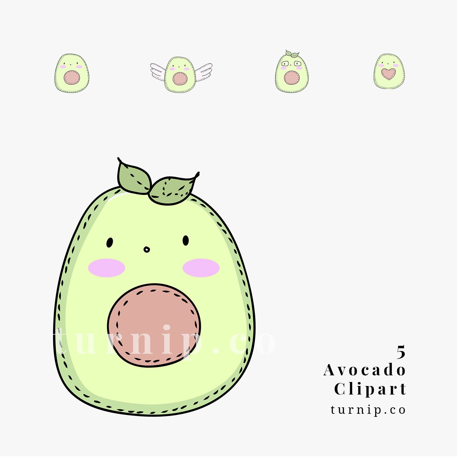 Cute Avocado Cartoon Image Clipart Cartoon PNG