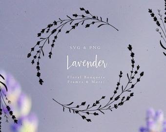 Lavender Wreath SVG & PNG Clipart Bouquet Bundle Sublimation Graphics / Floral Art Design Drawing Illustration Images / Wedding Decor Frame