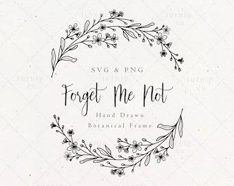 Forget Me Not Wreath SVG & PNG Clipart Sublimation Graphic Design / Split Half Frame Wood Engraving Wedding Bridal Couple Digital Download