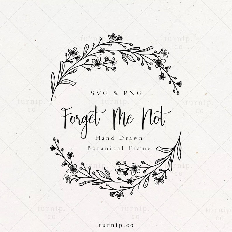 Forget Me Not Wreath SVG & PNG Clipart Sublimation Graphic image 0