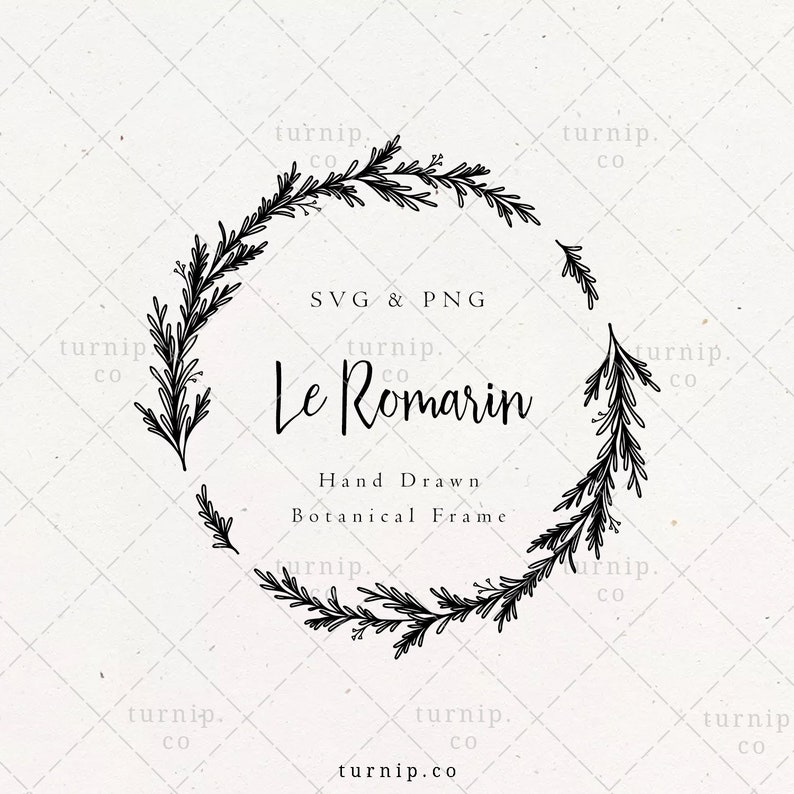 Rosemary Circle Laurel Wreath SVG & PNG Clipart Sublimation image 0