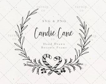 Candy Cane Pine Wreath SVG & PNG Clipart Sublimation Graphic Design / Christmas Botanical Border Frame Winter Xmas Holiday Season Laurel Art