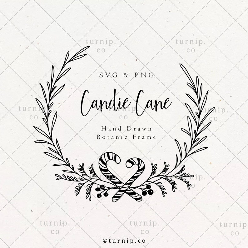 Candy Cane Pine Wreath SVG & PNG Clipart Sublimation Graphic image 1
