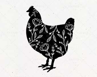 Floral Chicken SVG Clipart, Flower Sublimation Design, Rooster Hen Silhouette Farming Farmers Vector Printable PNG, Commercial Use Shirt Art