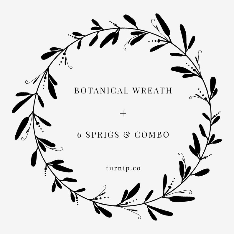 Black And White Wreath Clipart Botanical Leaf Wreath PNG SVG | Etsy