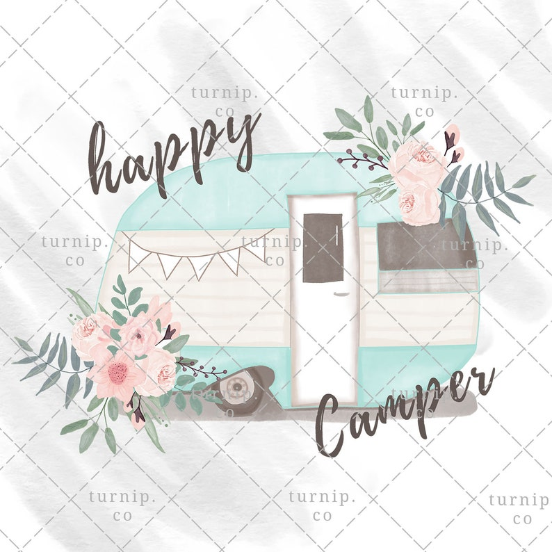 Watercolor Happy Camper Clipart PNG Sublimation Graphics Cartoon PNG
