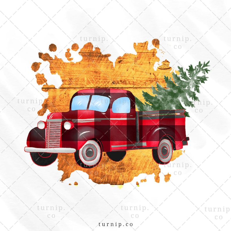 Watercolor Plaid Truck With Tree PNG Sublimation Graphics Clipart