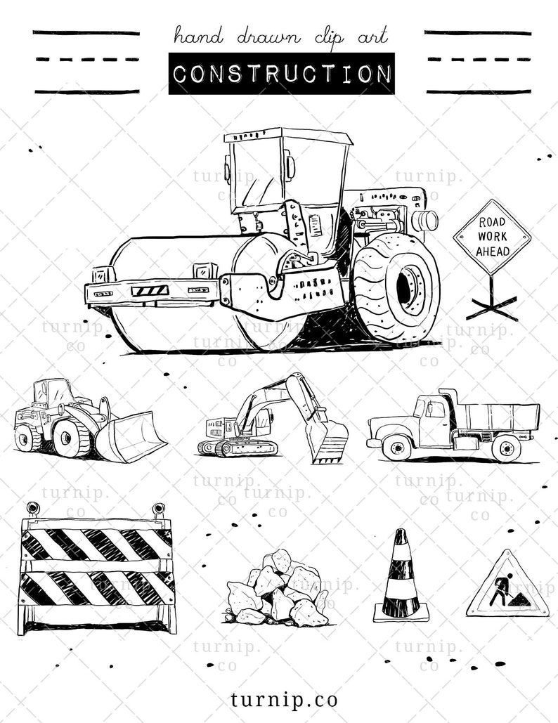 Construction Truck Clipart Black and White Cartoon PNG