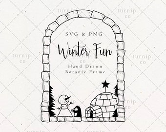 Penguin Snowman Igloo Frame SVG & PNG Clipart Sublimation Graphic Design / Christmas Winter Fun Ice Cube Border Wreath Holiday Illustration