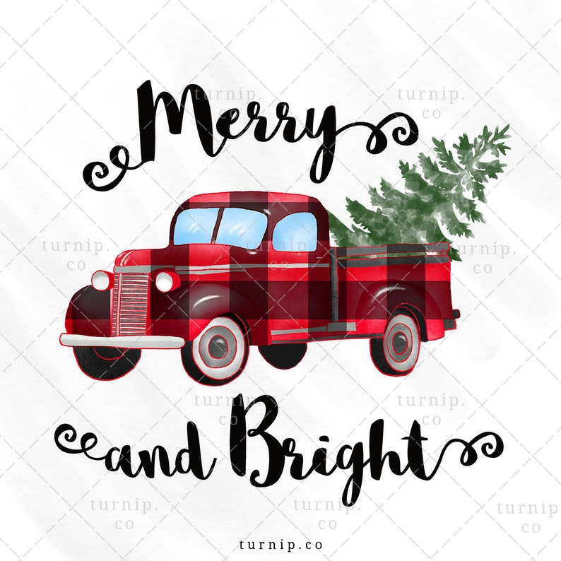 Merry and Bright Christmas Tree & Truck Sublimation Clipart image 0