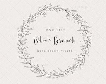 Olive Branch Wreath Clipart, Olive Wreath Logo, Black and white wreath clipart, Farmhouse Leaf wreath clipart, Simple wreath clipart,