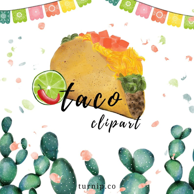 Watercolor Taco Clipart Mexican PNG Cartoon PNG