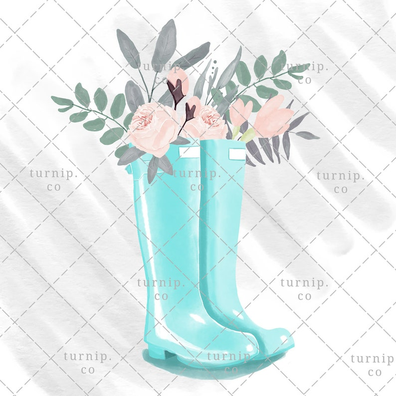 Watercolor Rain Boots Clipart PNG Sublimation Designs Digital image 0