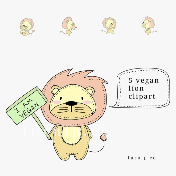 Cute Lion Clipart Cartoons Baby Lion Clipart Vegan Lion Etsy
