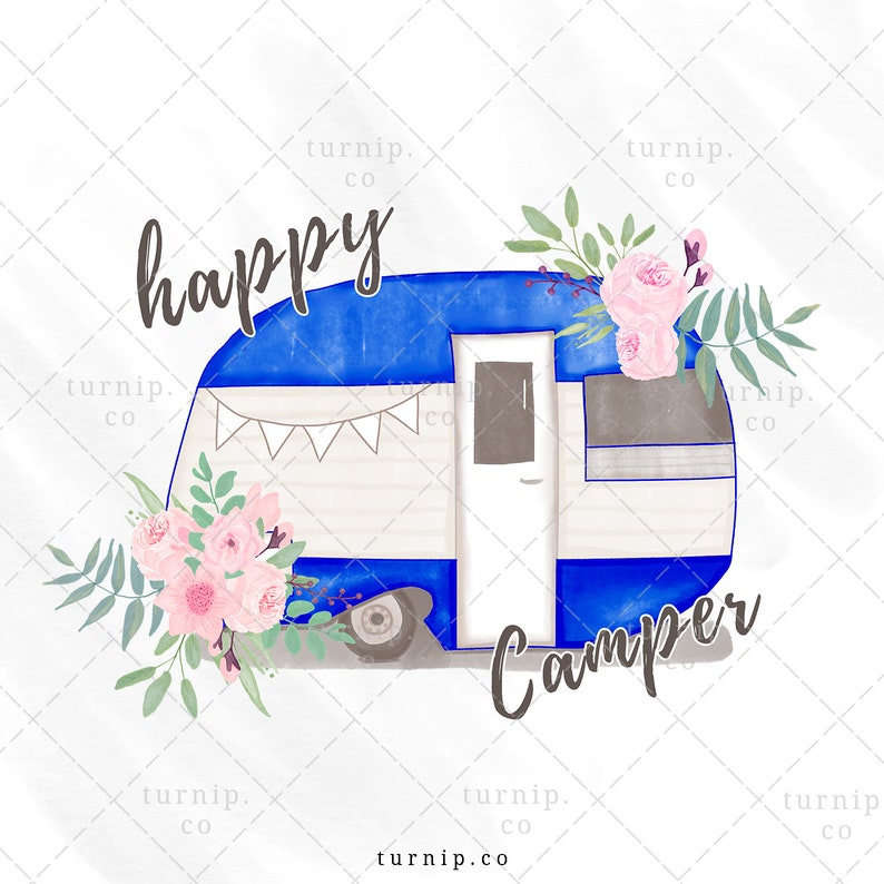Watercolor Happy Camper Clipart PNG Sublimation Graphics image 0