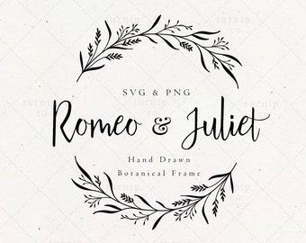 Wedding Split Wreath SVG & PNG Clip Art Sublimation Graphic / Anniversary Bridal Shower Frame Engrave Wood Design Bridal Border Family Name