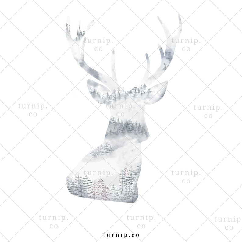 Watercolor Deer Head Clipart PNG Sublimation Graphic Cartoon PNG
